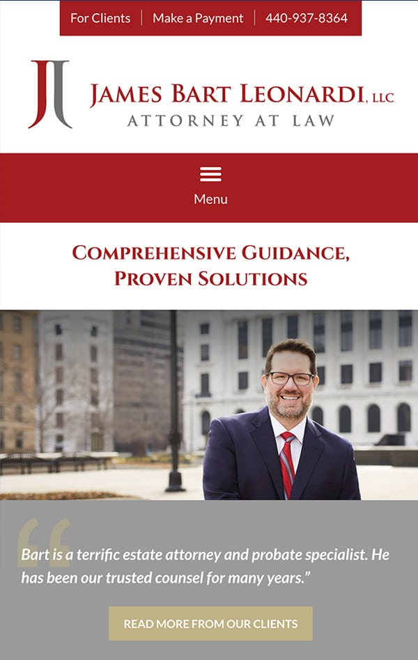 Mobile Friendly Law Firm Webiste for James Bart Leonardi, LLC