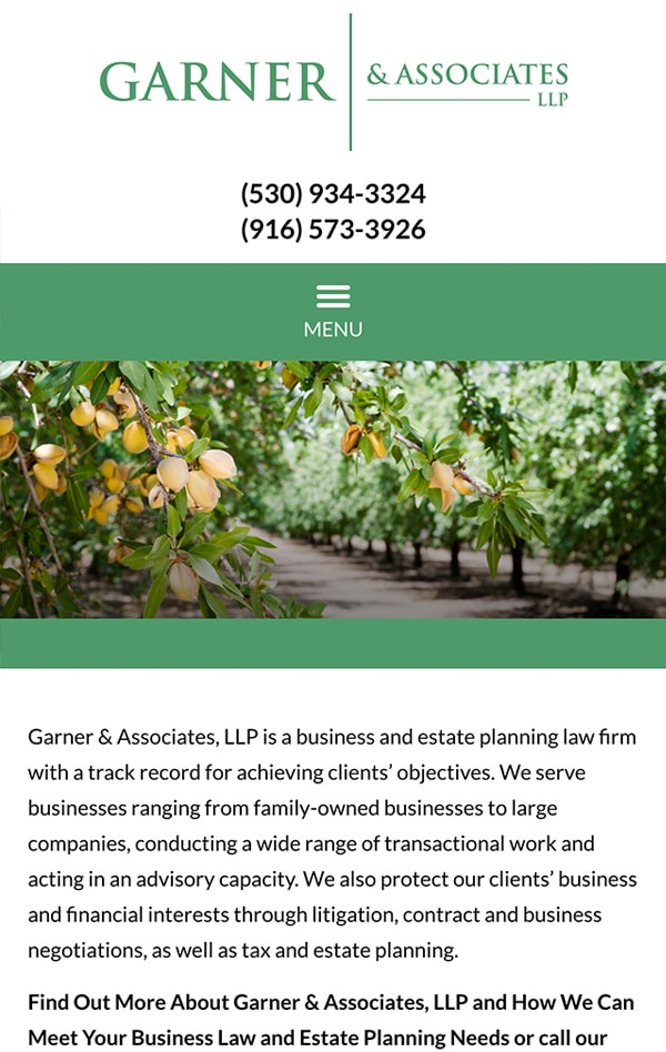 Mobile Friendly Law Firm Webiste for Garner & Associates, LLP
