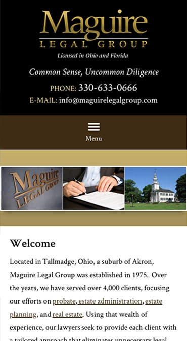 Responsive Mobile Attorney Website for Maguire Legal Group