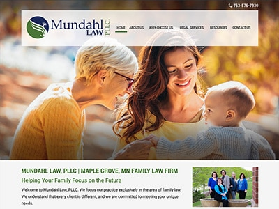 Law Firm Website design for Mundahl Law, LLC