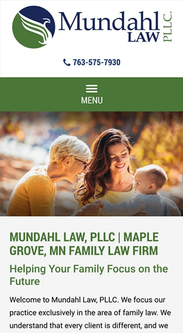 Responsive Mobile Attorney Website for Mundahl Law, LLC
