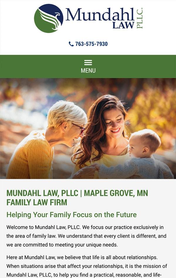 Mobile Friendly Law Firm Webiste for Mundahl Law, LLC