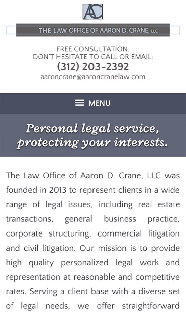 Responsive Mobile Attorney Website for The Law Office of Aaron D. Crane, LLC