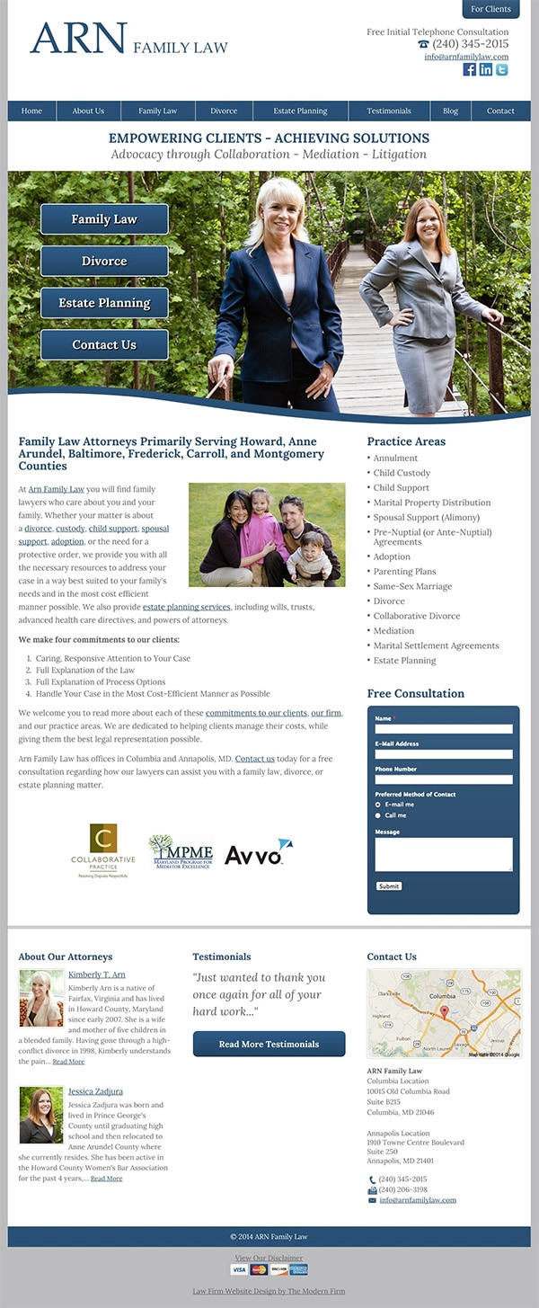 Law Firm Website Design for ARN Family Law