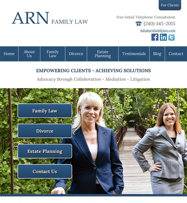 Mobile Friendly Law Firm Webiste for ARN Family Law