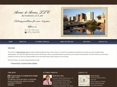 Law Firm Website design for Arons & Arons, LLC