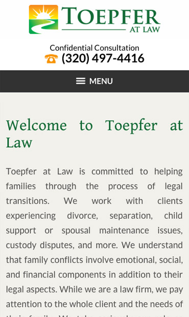 Responsive Mobile Attorney Website for Toepfer at Law