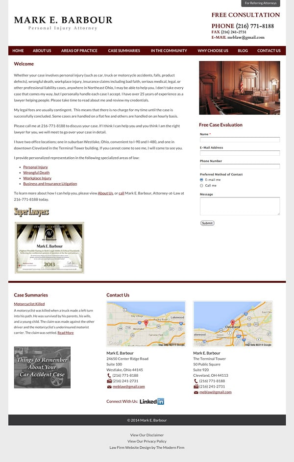 Law Firm Website Design for Mark E. Barbour