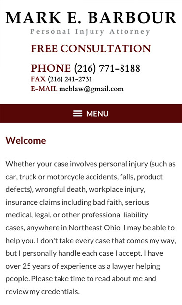 Responsive Mobile Attorney Website for Mark E. Barbour