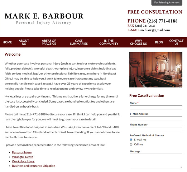 Mobile Friendly Law Firm Webiste for Mark E. Barbour