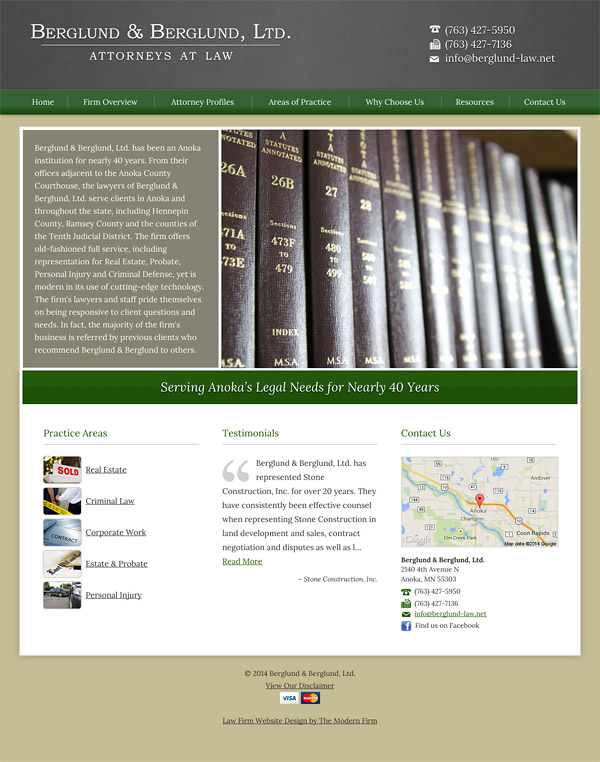 Law Firm Website Design for Berglund & Berglund, Ltd.