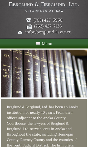 Responsive Mobile Attorney Website for Berglund & Berglund, Ltd.