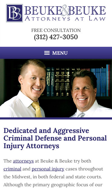 Responsive Mobile Attorney Website for The Law Offices of Beuke & Beuke