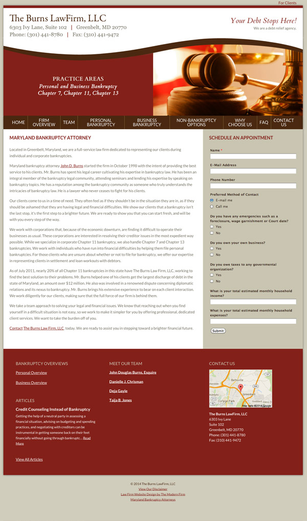 Law Firm Website Design for The Burns Law Firm, LLC