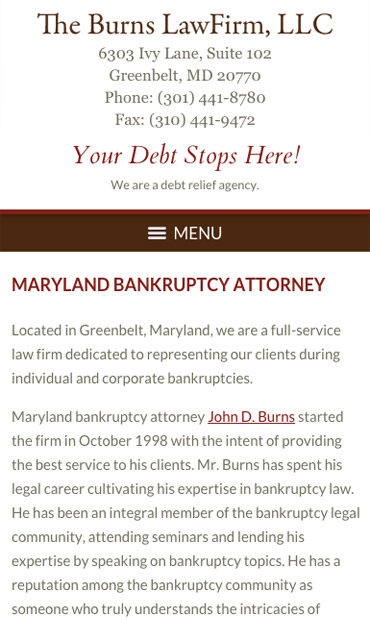 Responsive Mobile Attorney Website for The Burns Law Firm, LLC