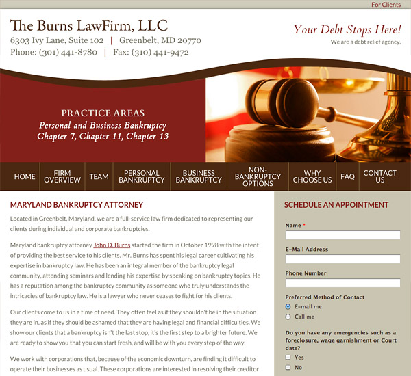 Mobile Friendly Law Firm Webiste for The Burns Law Firm, LLC
