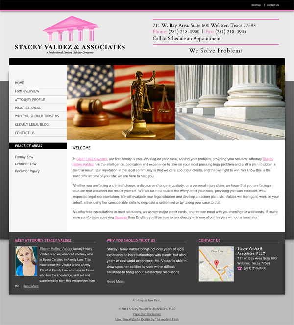 Law Firm Website for Stacey Valdez & Associates, PLLC