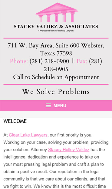 Responsive Mobile Attorney Website for Stacey Valdez & Associates, PLLC