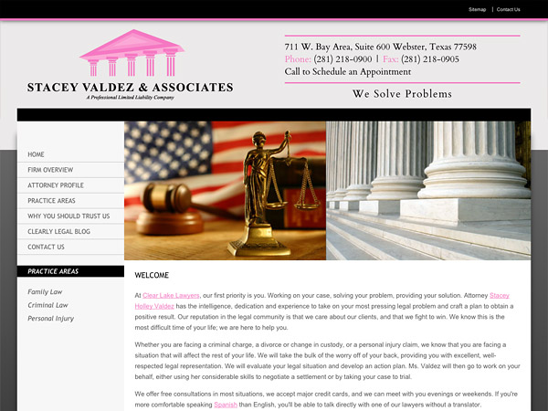 Mobile Friendly Law Firm Webiste for Stacey Valdez & Associates, PLLC