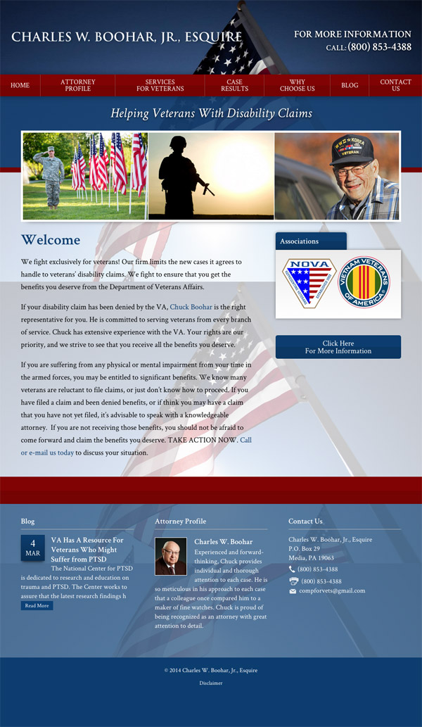 Law Firm Website Design for Charles W. Boohar, Jr., Esquire