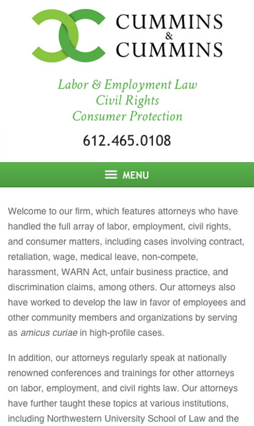 Responsive Mobile Attorney Website for Cummins & Cummins, LLP