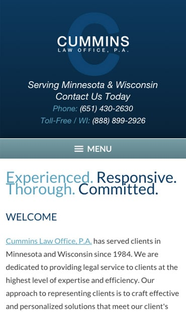 Responsive Mobile Attorney Website for Cummins Law Office, P.A.