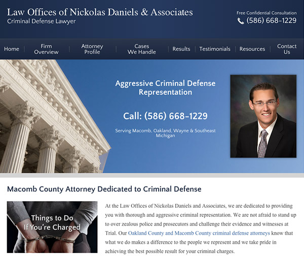 Mobile Friendly Law Firm Webiste for Law Offices of Nickolas Daniels & Associates