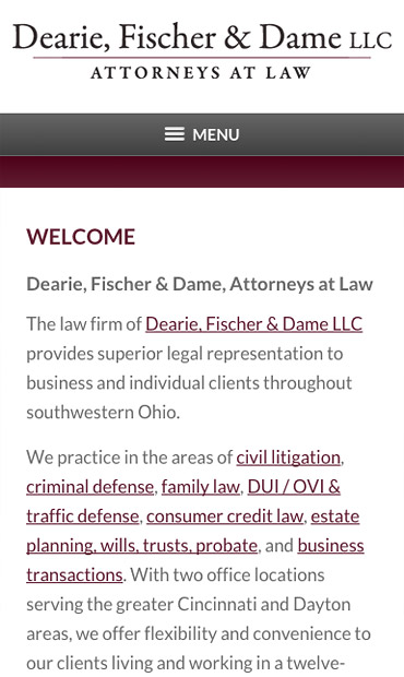 Responsive Mobile Attorney Website for Dearie, Fischer & Dame LLC