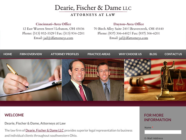 Mobile Friendly Law Firm Webiste for Dearie, Fischer & Dame LLC
