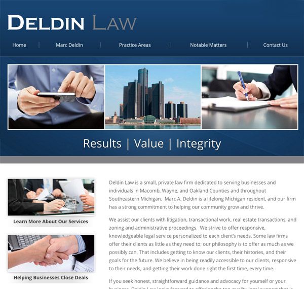 Mobile Friendly Law Firm Webiste for Deldin Law