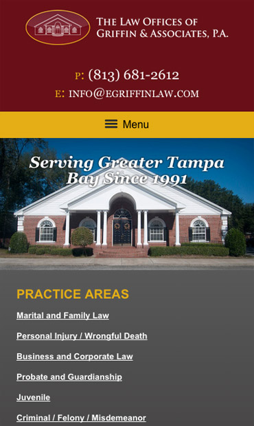 Responsive Mobile Attorney Website for The Law Offices of Griffin & Associates, P.A.