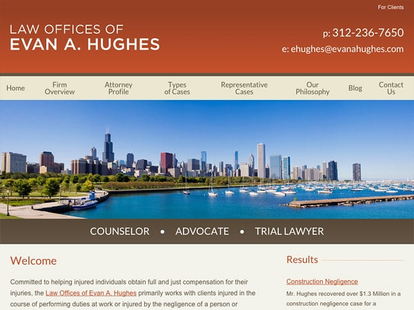 Mobile Friendly Law Firm Webiste for Evan Hughes Law