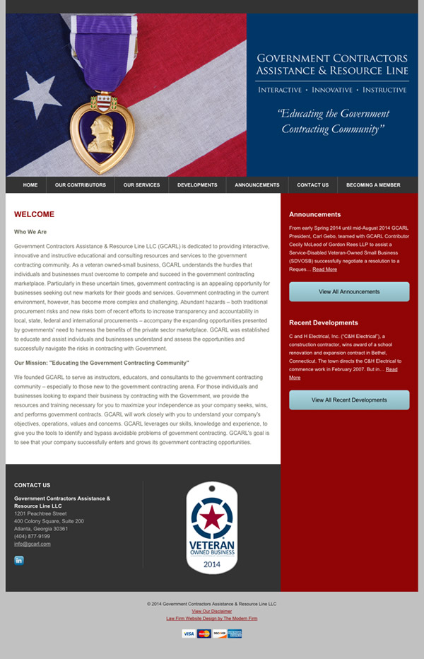 Law Firm Website Design for Government Contractors Assistance & Resource Line LLC