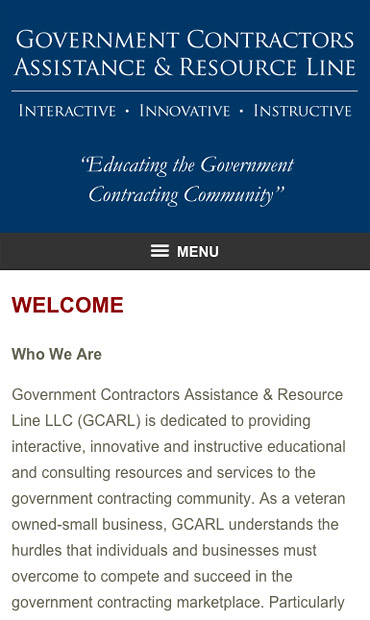 Responsive Mobile Attorney Website for Government Contractors Assistance & Resource Line LLC