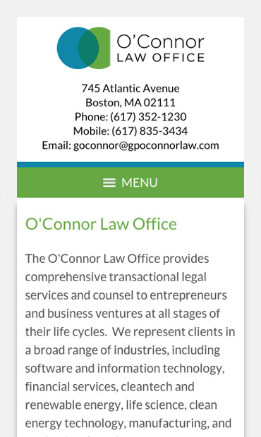 Responsive Mobile Attorney Website for O'Connor Law Office, P.C.