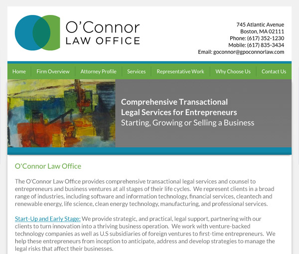 Mobile Friendly Law Firm Webiste for O'Connor Law Office, P.C.