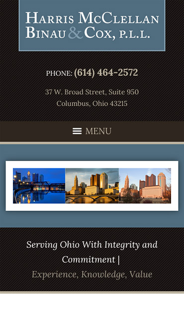 Responsive Mobile Attorney Website for Harris, McClellan, Binau & Cox, P.L.L.