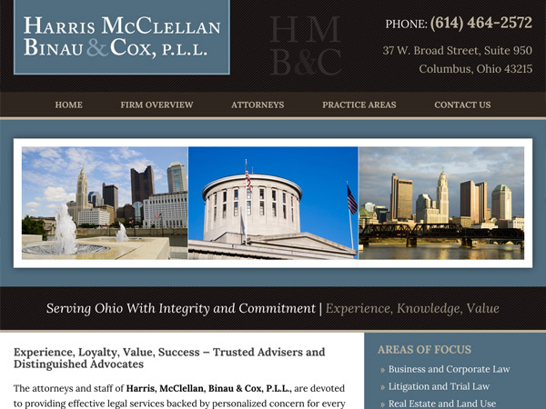 Mobile Friendly Law Firm Webiste for Harris, McClellan, Binau & Cox, P.L.L.