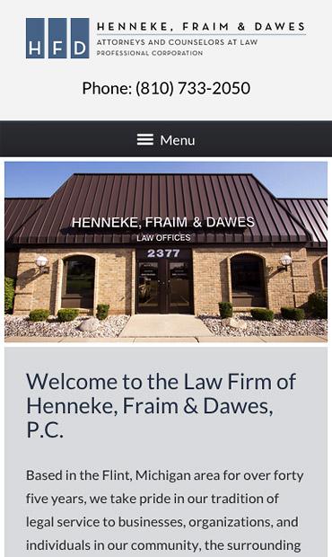 Responsive Mobile Attorney Website for Henneke, Fraim & Dawes, P.C.