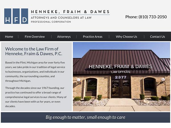 Mobile Friendly Law Firm Webiste for Henneke, Fraim & Dawes, P.C.