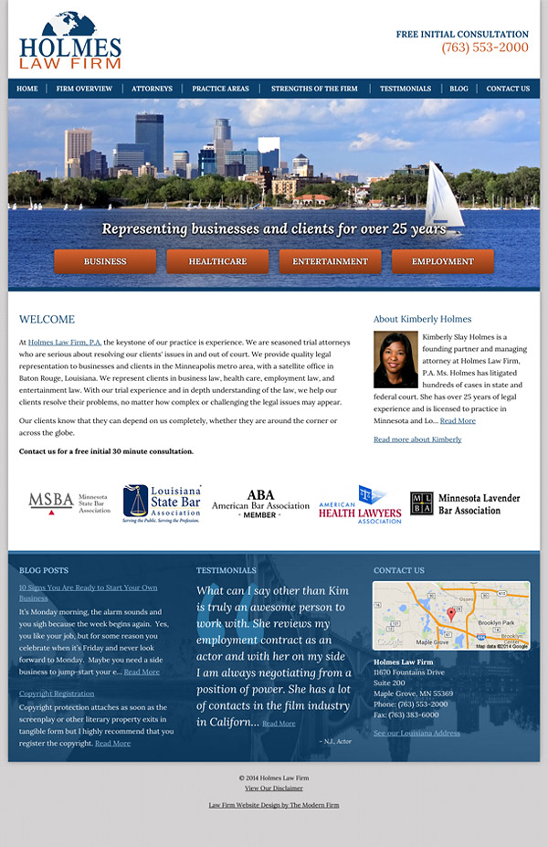 Law Firm Website Design for Holmes Law Firm