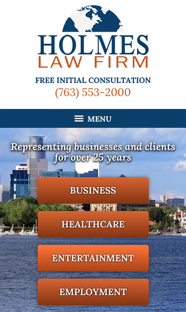 Responsive Mobile Attorney Website for Holmes Law Firm