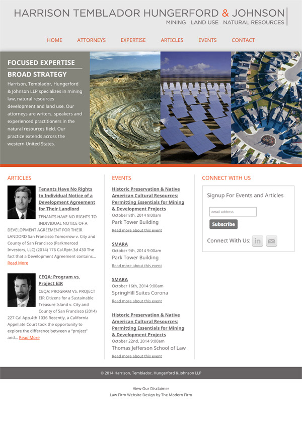 Law Firm Website Design for Harrison, Temblador, Hungerford & Johnson LLP