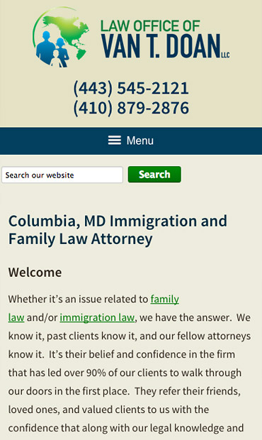 Responsive Mobile Attorney Website for Law Offices of Van T. Doan, LLC