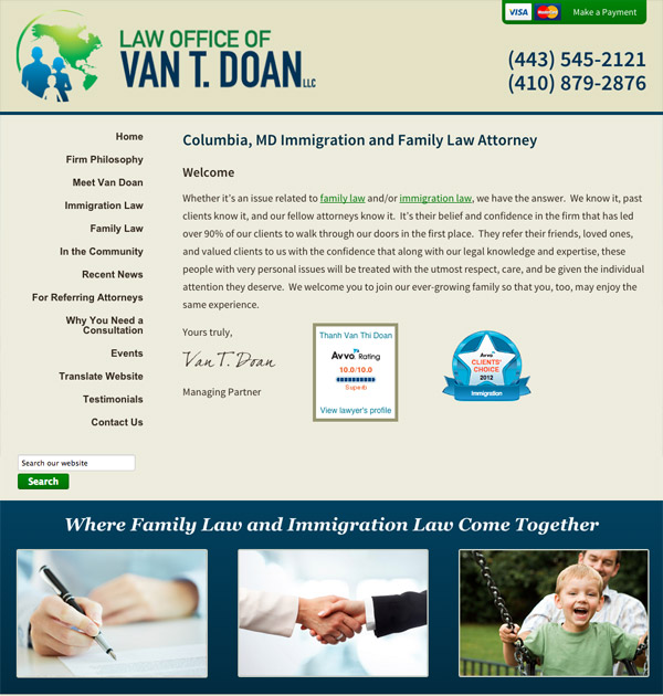 Mobile Friendly Law Firm Webiste for Law Offices of Van T. Doan, LLC