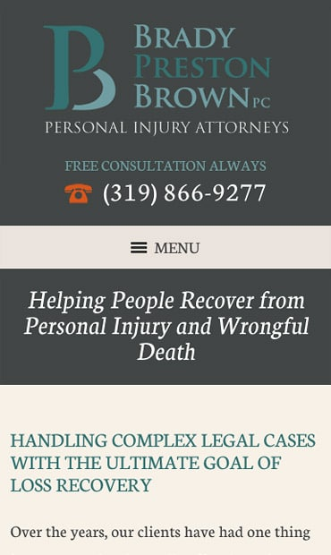 Responsive Mobile Attorney Website for Brady Preston Brown, PC