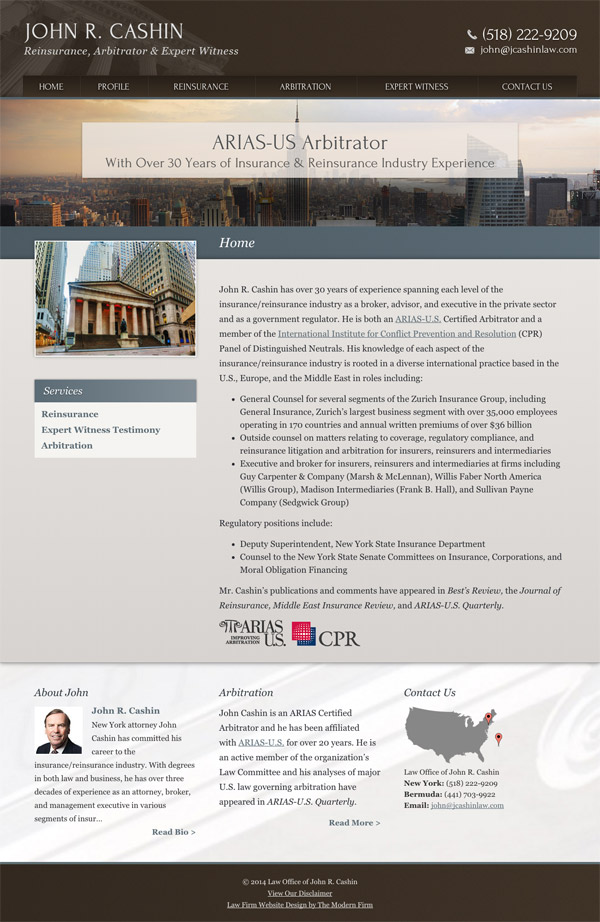 Law Firm Website for Law Office of John R. Cashin