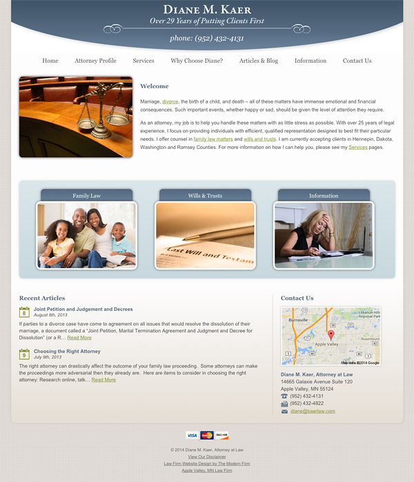Law Firm Website Design for Diane M. Kaer, Attorney at Law