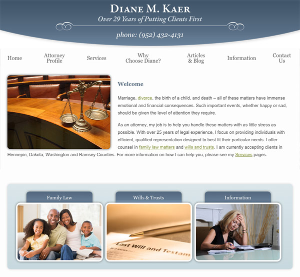 Mobile Friendly Law Firm Webiste for Diane M. Kaer, Attorney at Law