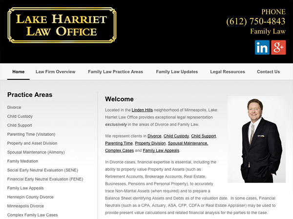 Mobile Friendly Law Firm Webiste for Lake Harriet Law Office